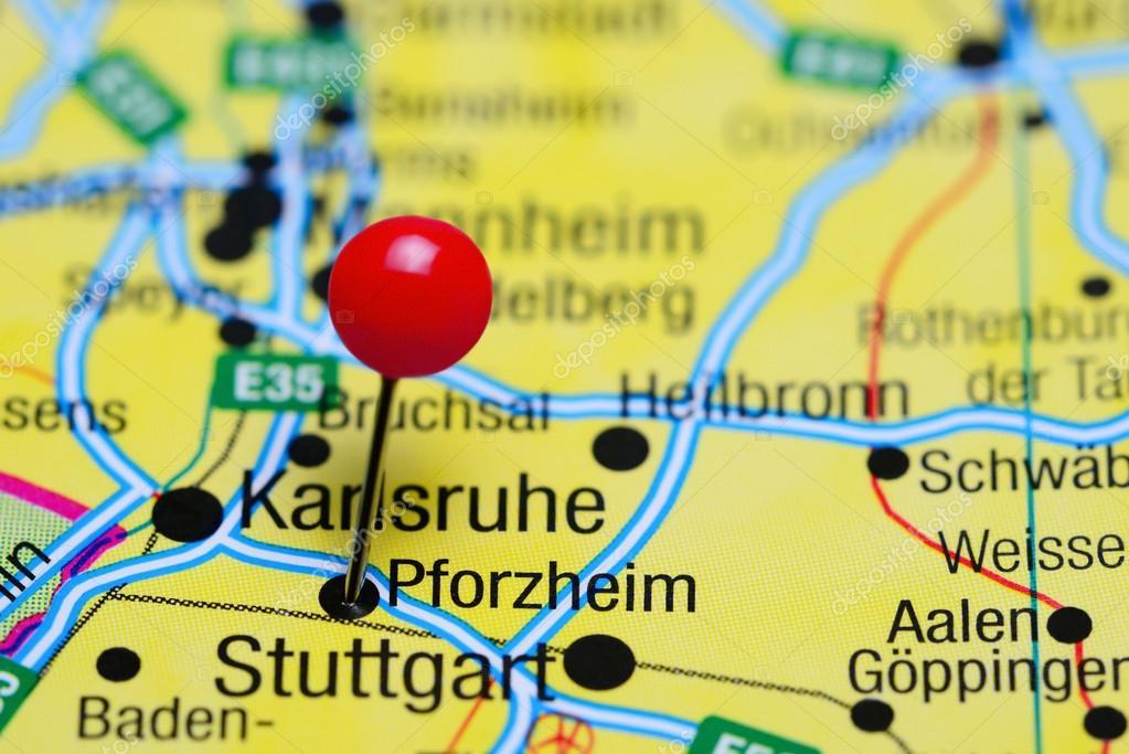 Pforzheim Karte.Pforzheim Fixiert Auf Einer Karte Von Deutschland Stockfoto