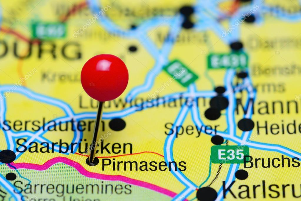 Pirmasens Pinned On A Map Of Germany Stock Photo C Dk Photos