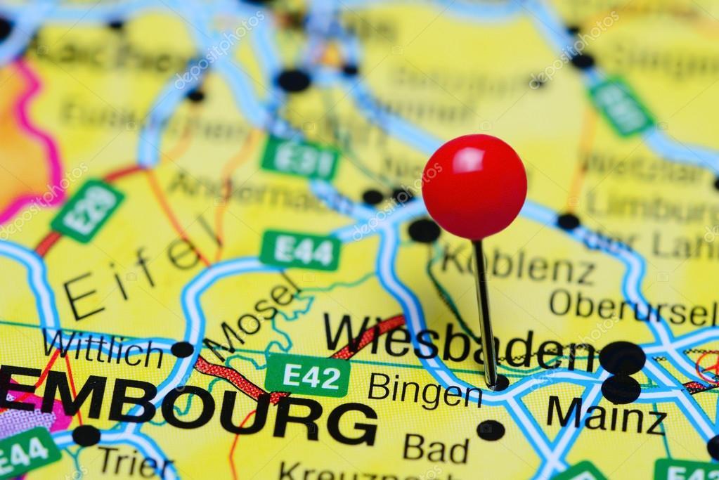 Bingen Germany Map.Bingen Pinned On A Map Of Germany Stock Photo C Dk Photos 103135510