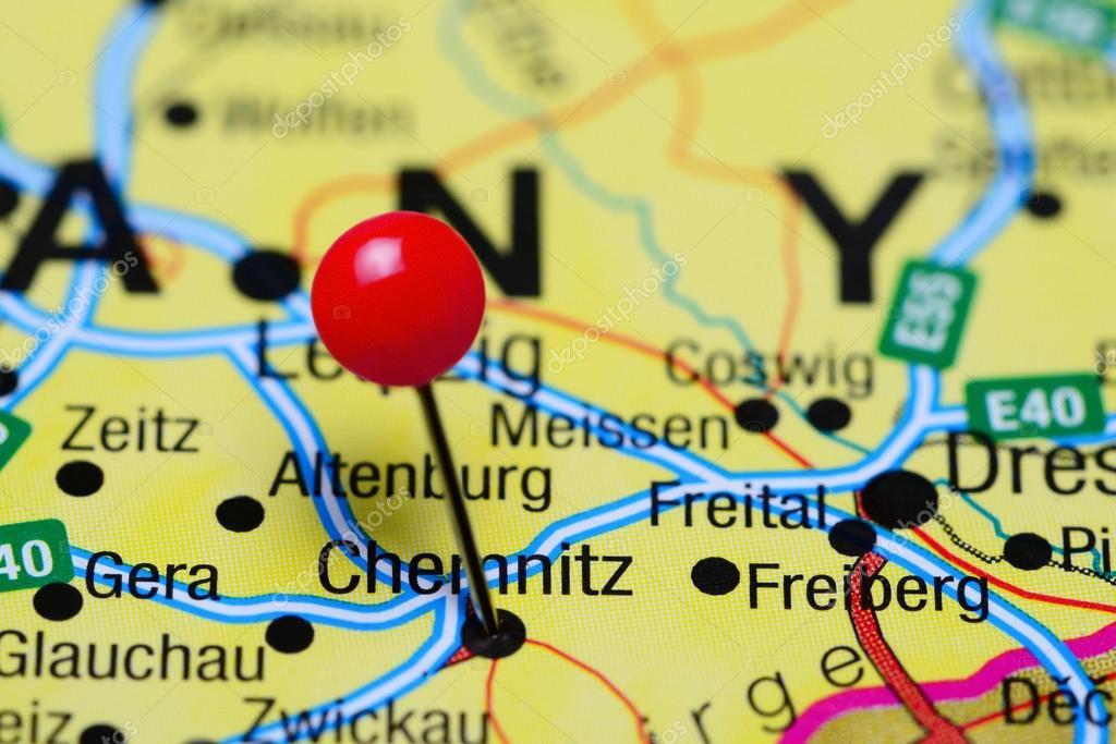 Karte Chemnitz.Chemnitz Fixiert Auf Einer Karte Von Deutschland