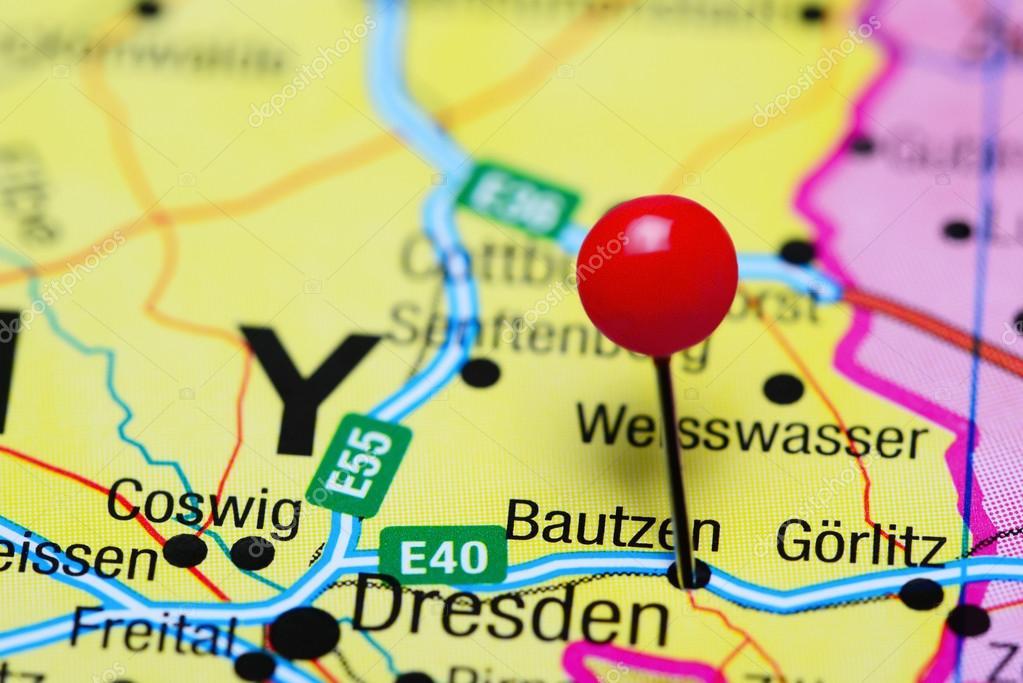 Bautzen Pinned On A Map Of Germany Stock Photo C Dk Photos