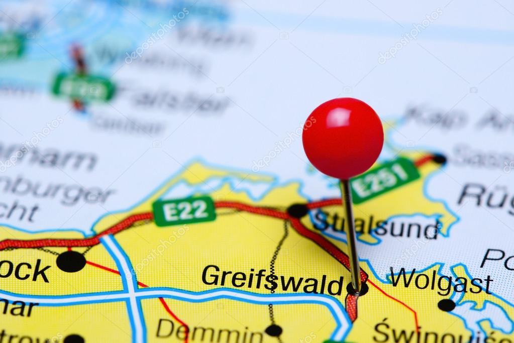 Greifswald Karte.Greifswald Fixiert Auf Einer Karte Von Deutschland Stockfoto