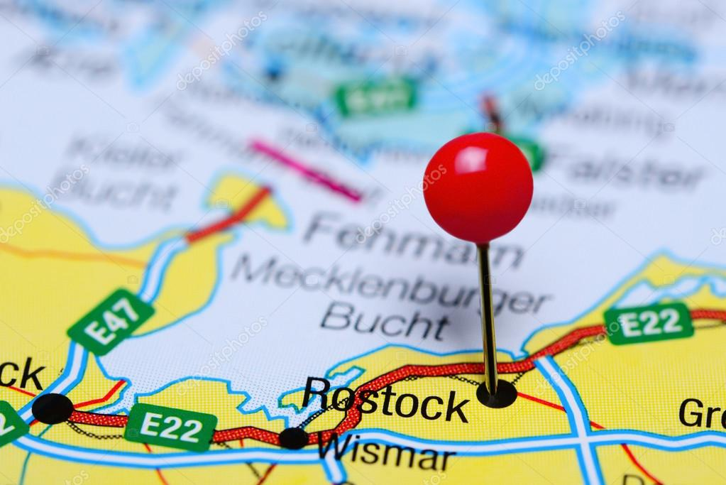 Rostock Pinned On A Map Of Germany Stock Photo C Dk Photos 103549576