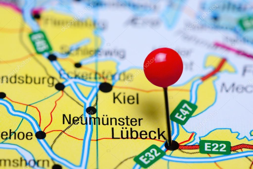 Karte Lübeck.Lubeck Fixiert Auf Einer Karte Von Deutschland Stockfoto