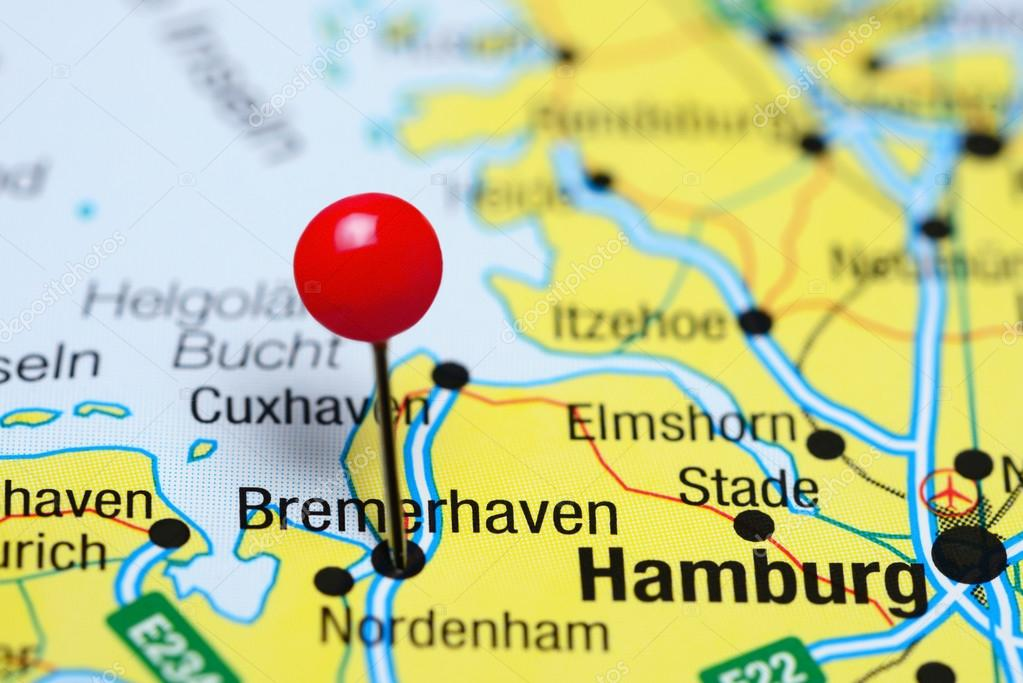 Bremerhaven Pinned On A Map Of Germany Stock Photo C Dk Photos