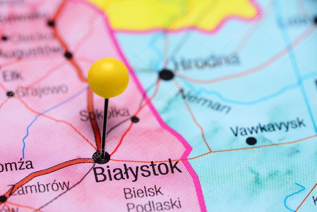 Bialystok pinned on a map of Poland Stock Photo dkphotos 104360638
