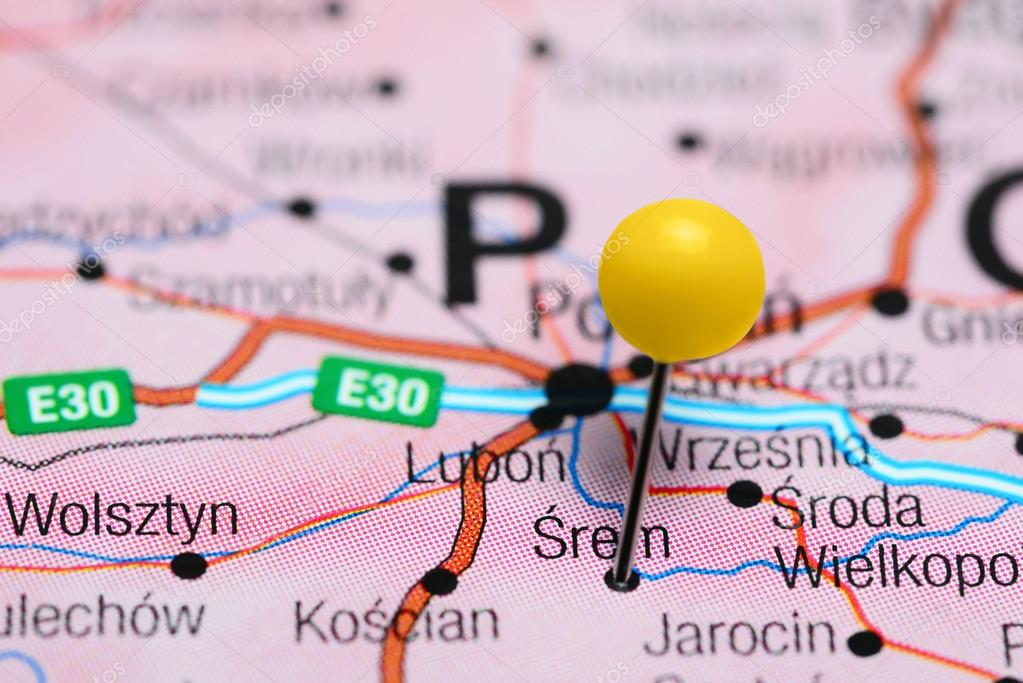 Srem Pinned On A Map Of Poland Stock Photo C Dk Photos 104623862
