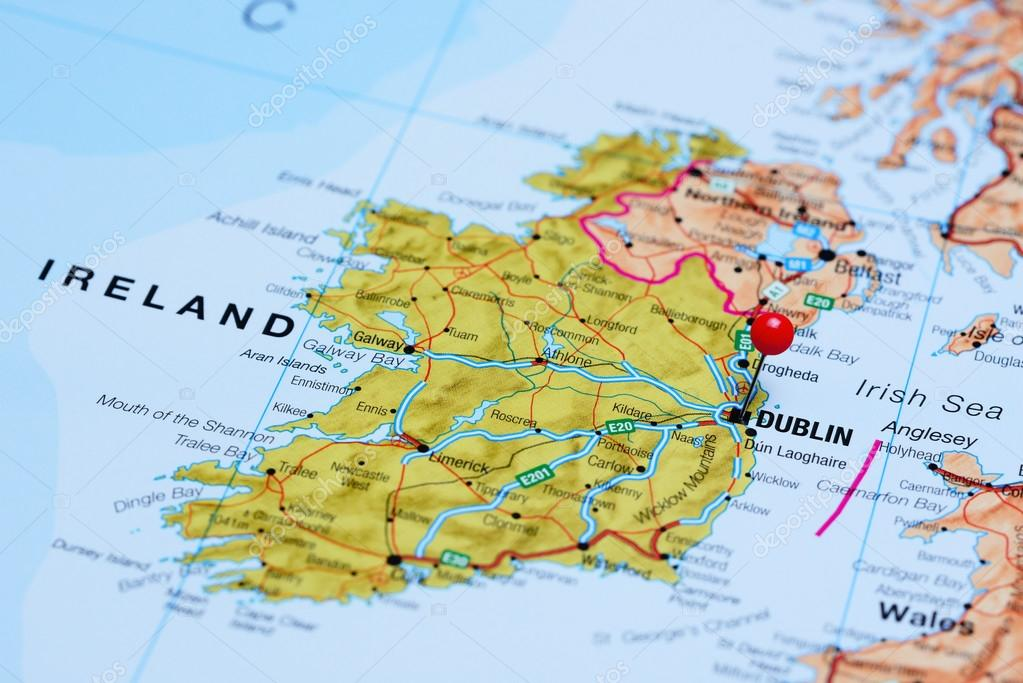 Dublin On Map Of Ireland.Dublin Pinned On A Map Of Ireland Stock Photo C Dk Photos 105511574