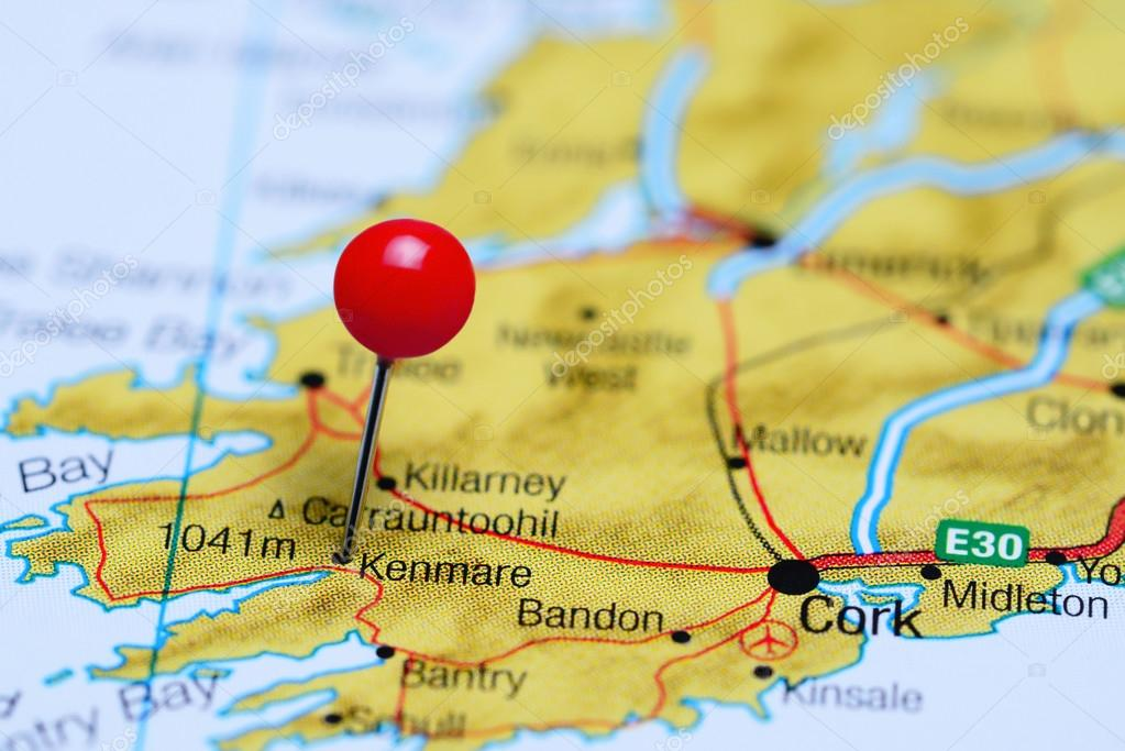 Map Of Ireland Kenmare.Kenmare Pinned On A Map Of Ireland Stock Photo C Dk Photos 105511780