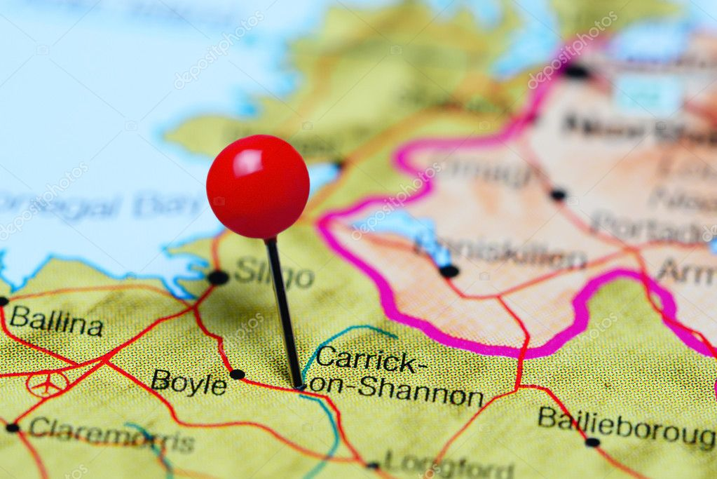 Map Of Shannon Ireland.Carrick On Shannon Pinned On A Map Of Ireland Stock Photo