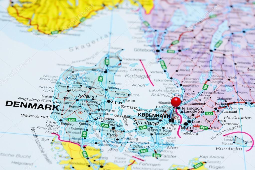 karta över danmark jylland Copenhagen fästs på en karta över Danmark — Stockfotografi  karta över danmark jylland