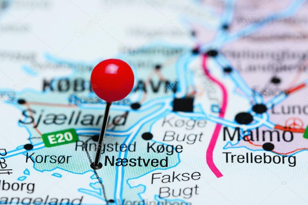 Naestved fixiert auf einer Karte von Dänemark — Stockfoto ...
