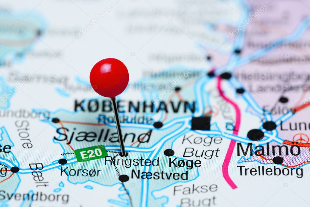 Ringsted pinned on a map of Denmark — Stock Photo © dk_photos #105723408