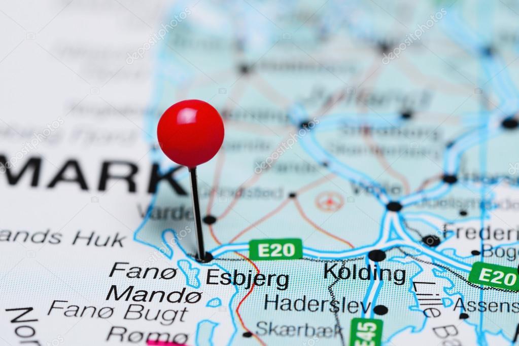 Esbjerg, fixiert auf einer Karte von Dänemark — Stockfoto ...