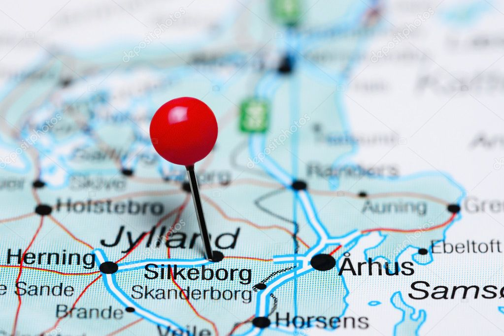 Silkeborg pinned on a map of Denmark — Stock Photo ...