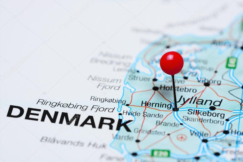Herning pinned on a map of Denmark — Stock Photo © dk_photos #105724432