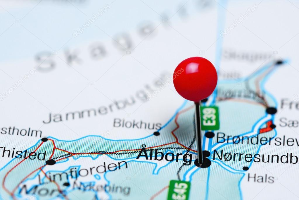 karta aalborg Aalbfästs på en karta över Danmark — Stockfotografi  karta aalborg