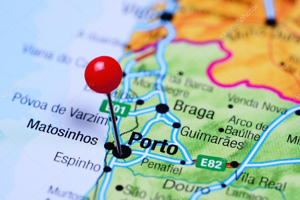 Porto Portugal Karte.Porto Fixiert Auf Einer Karte Von Portugal Stockfoto