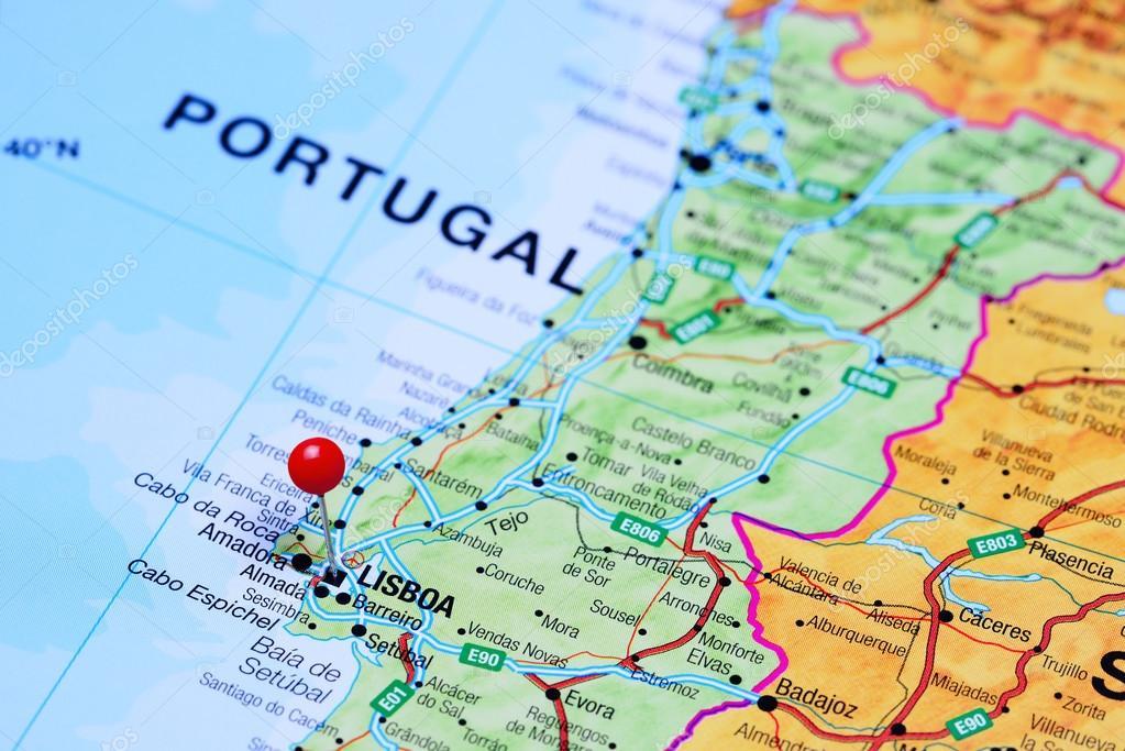 mapa portugal lisboa Fez o PIN em Lisboa no mapa de Portugal — Fotografias de Stock  mapa portugal lisboa