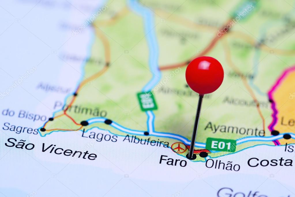 Faro Pinned On A Map Of Portugal Stock Photo C Dk Photos 105934112