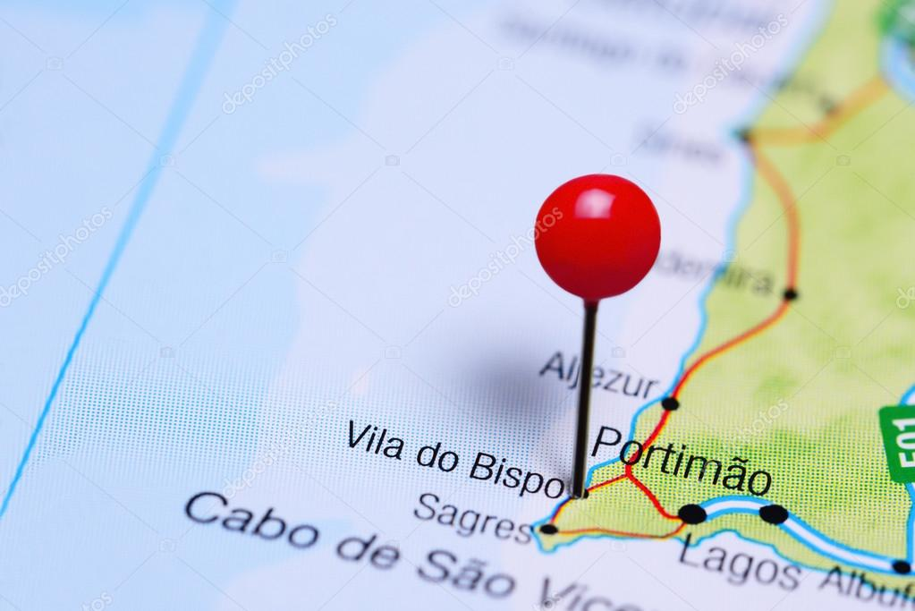 Vila Do Bispo Pinned On A Map Of Portugal Stock Photo