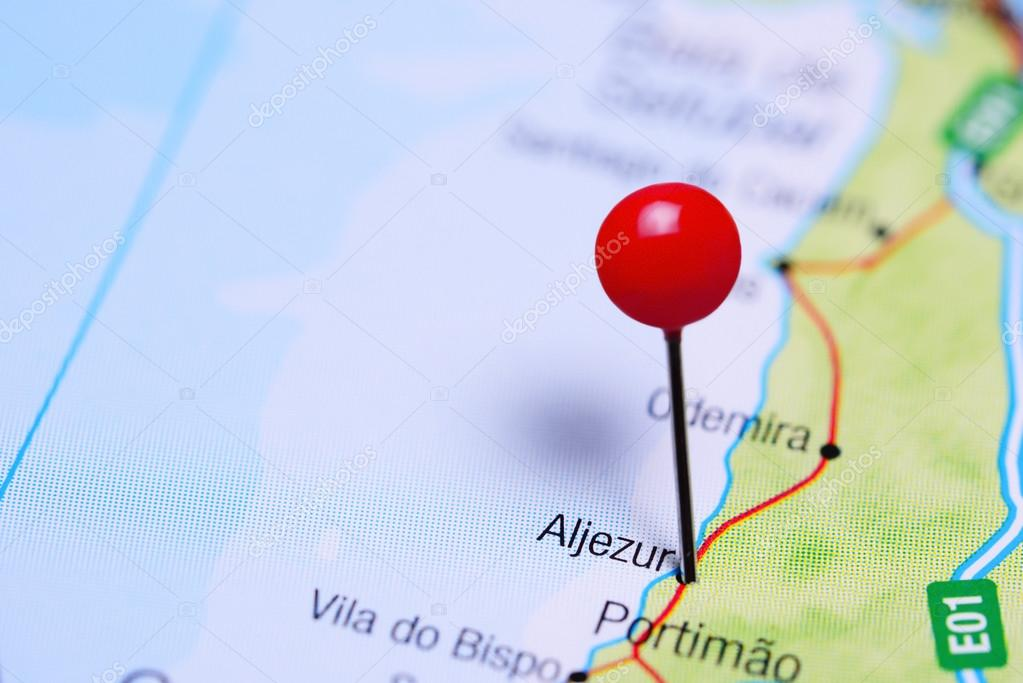 Aljezur Pinned On A Map Of Portugal Stock Photo C Dk Photos
