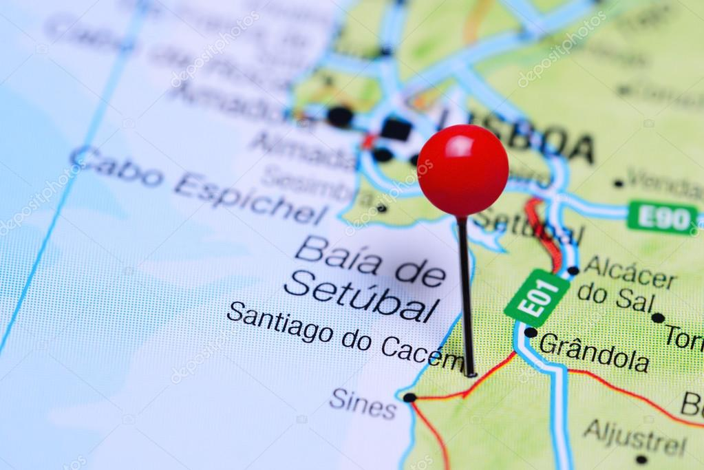 Santiago Do Cacem Pinned On A Map Of Portugal Stock Photo