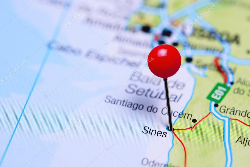 Sines Pinned On A Map Of Portugal Stock Photo C Dk Photos 105934506