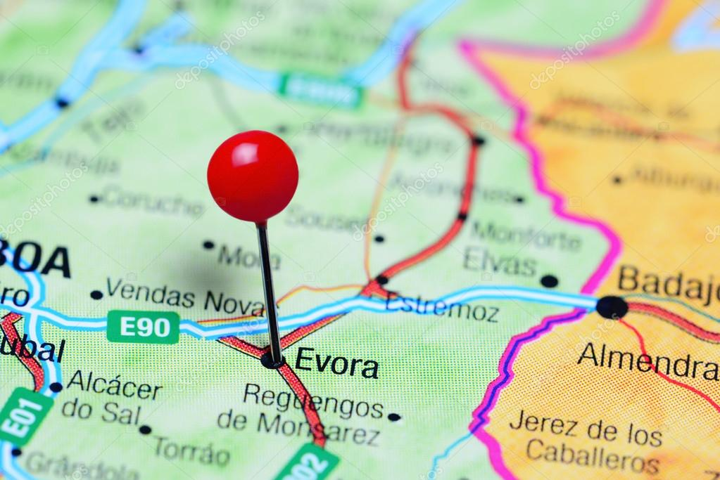 Evora Pinned On A Map Of Portugal Stock Photo C Dk Photos 105934518