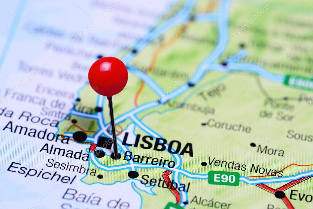 Barreiro Pinned On A Map Of Portugal Stock Photo C Dk Photos