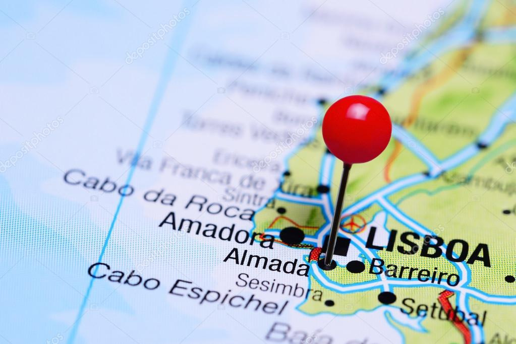 Almada Pinned On A Map Of Portugal Stock Photo C Dk Photos