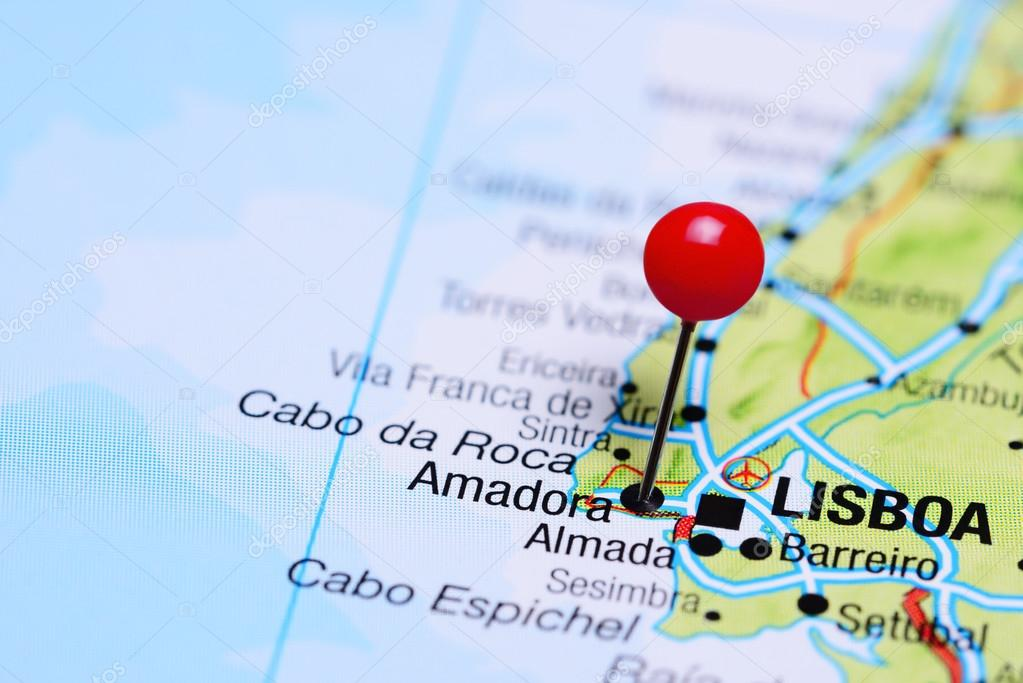 Amadora Pinned On A Map Of Portugal Stock Photo C Dk Photos