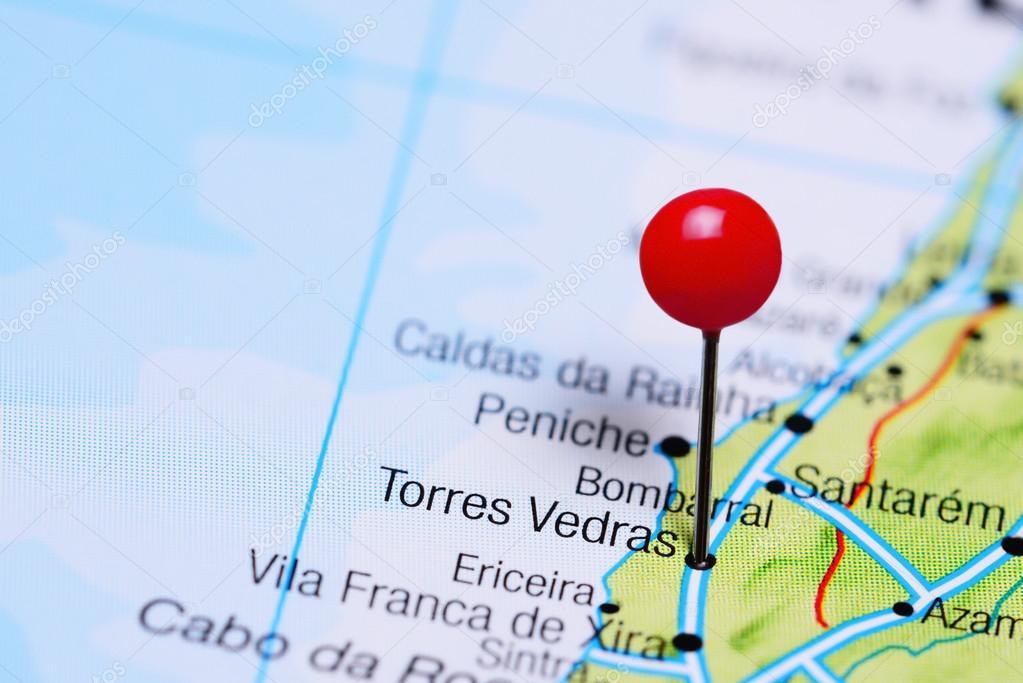 torres vedras mapa Torres Vedras fixado no mapa de Portugal — Fotografias de Stock  torres vedras mapa