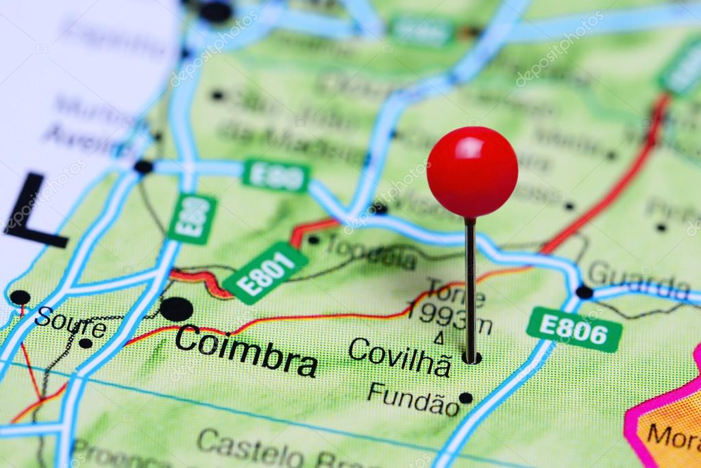 Covilha Pinned On A Map Of Portugal Stock Photo C Dk Photos