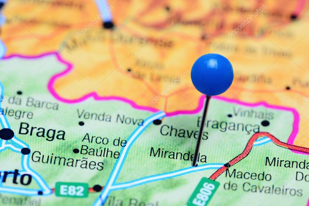 Mirandela Pinned On A Map Of Portugal Stock Photo C Dk Photos