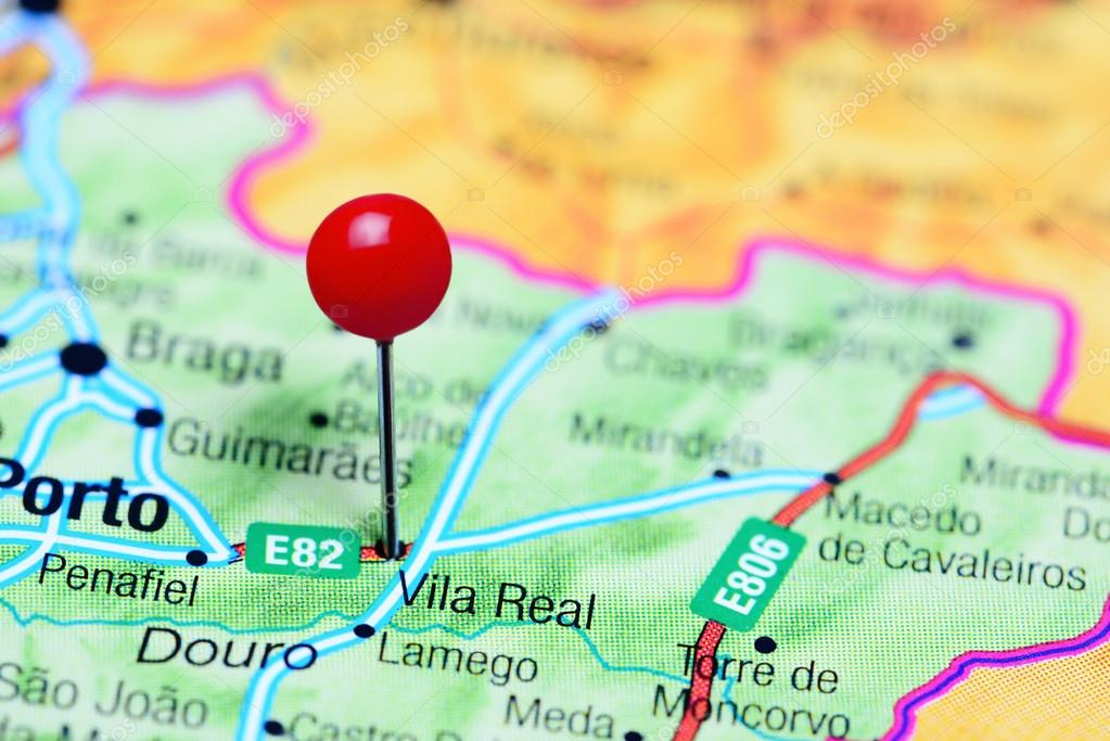 Vila Real Pinned On A Map Of Portugal Stock Photo C Dk Photos