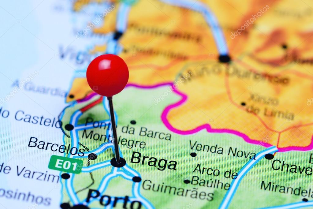 Braga pinned on a map of Portugal Stock Photo dkphotos 106123102