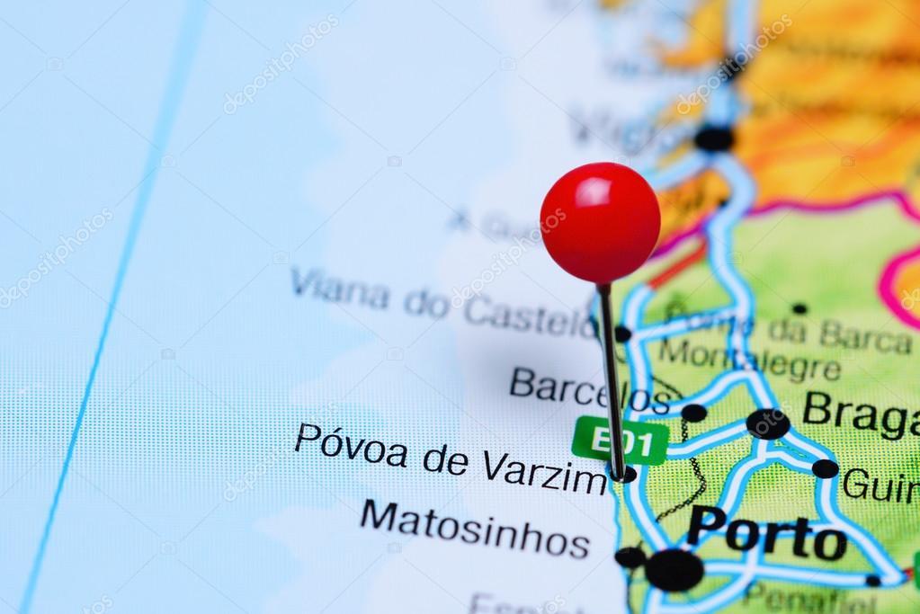 mapa povoa de varzim Póvoa de Varzim fixado no mapa de Portugal — Fotografias de Stock  mapa povoa de varzim