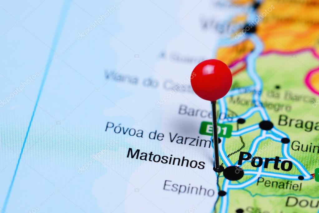 Matosinhos pinned on a map of Portugal Stock Photo dkphotos