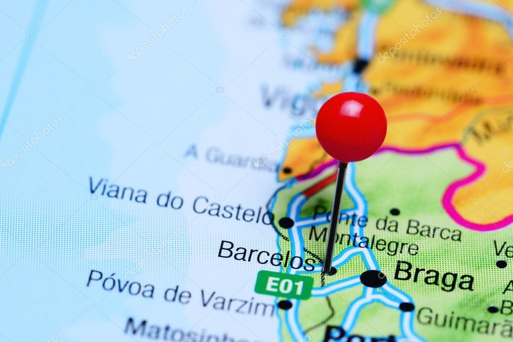 mapa de portugal barcelos Barcelos, fixado no mapa de Portugal — Stock Photo © dk_photos  mapa de portugal barcelos