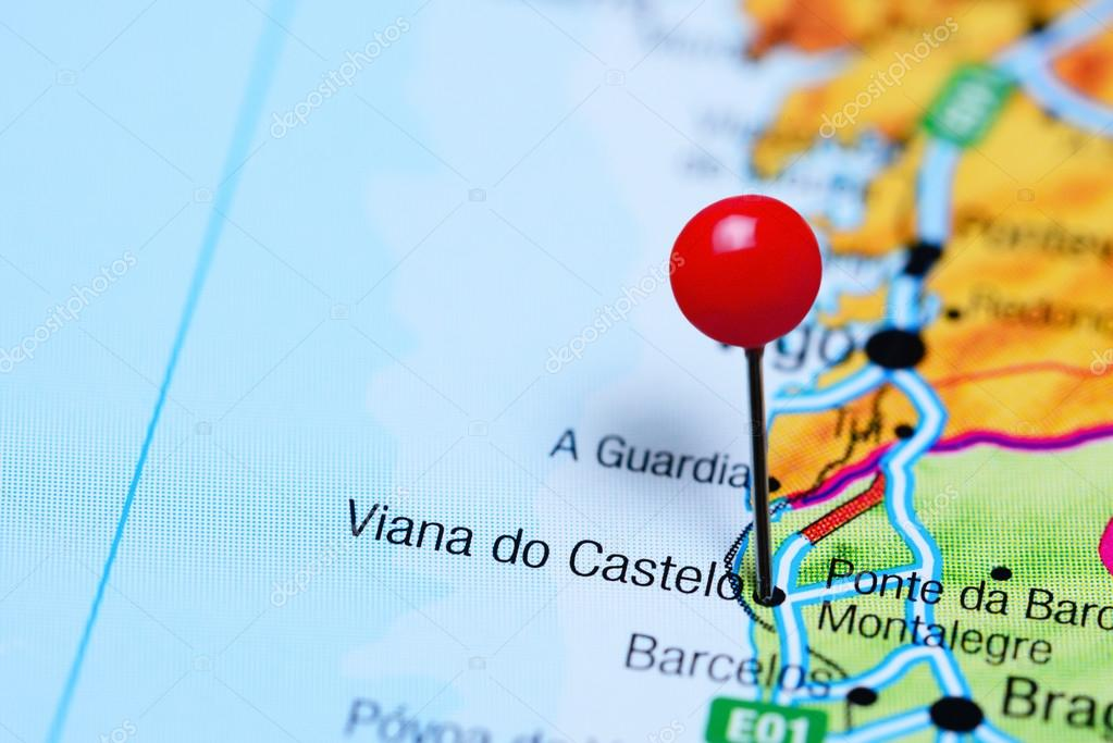 Viana Do Castelo Pinned On A Map Of Portugal Stock Photo
