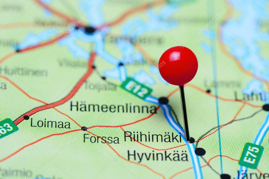 Riihimaki pinned on a map of Finland Stock Photo dkphotos
