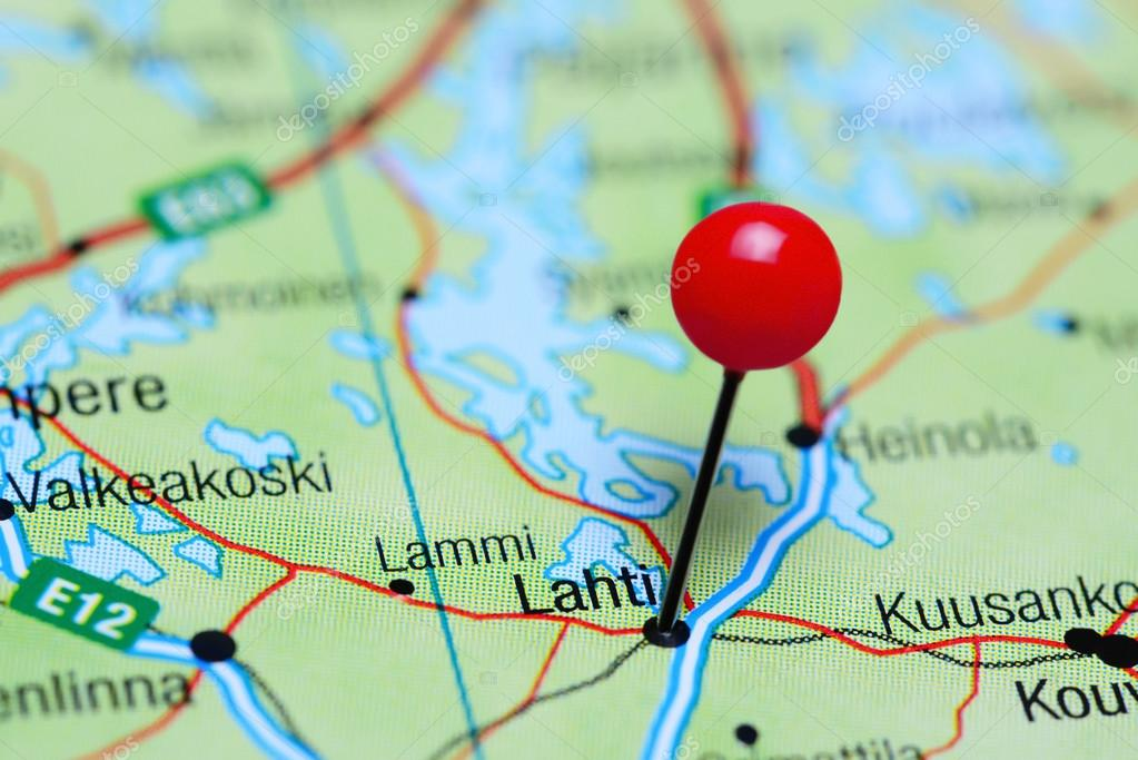 Lahti pinned on a map of Finland Stock Photo dkphotos 106585954