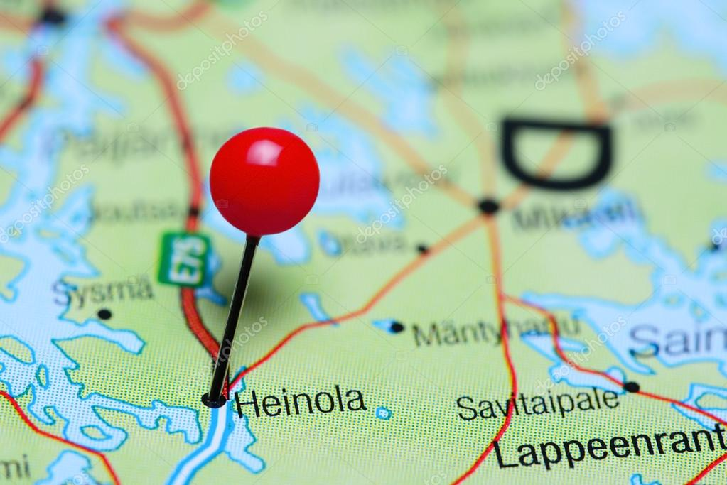 Heinola pinned on a map of Finland Stock Photo dkphotos 106647972