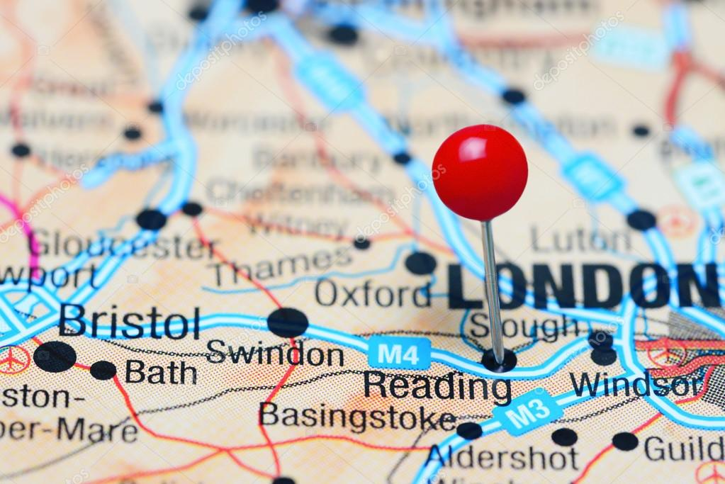 Map Of Reading Area Uk.Reading Pinned On A Map Of Uk Stock Photo C Dk Photos 107149304