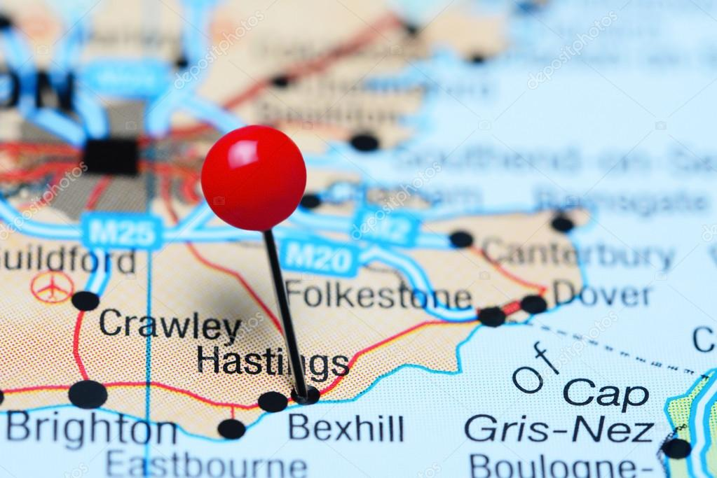 Hastings Pinned On A Map Of Uk Stock Photo C Dk Photos 107230980
