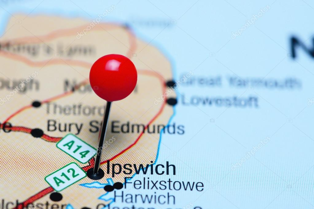 Ipswich Uk Map.Ipswich Pinned On A Map Of Uk Stock Photo C Dk Photos 107231694