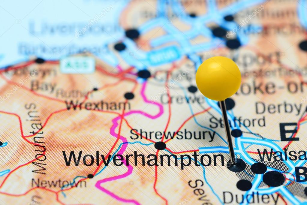 Wolverhampton pinned on a map of UK Stock Photo dkphotos 107302820
