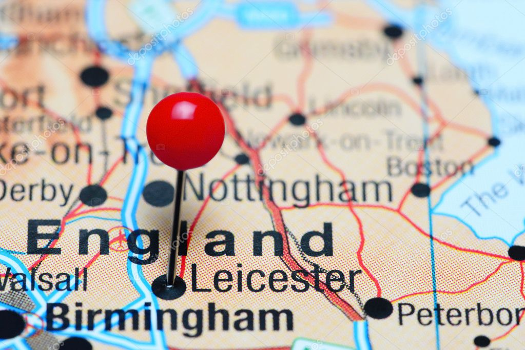 Map Of Uk Leicester.Leicester Pinned On A Map Of Uk Stock Photo C Dk Photos 107302844