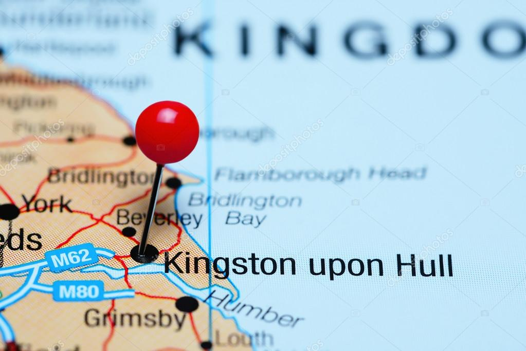 Kingston upon Hull pinned on a map of UK Stock Photo dkphotos